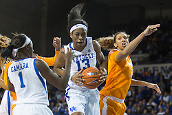 Kentucky forward Evelyn Akhator grabs a rebound in the second half.<br /> <br /> The University of Kentucky hosted the University of Tennessee, Monday, Jan. 25, 2016 at Memorial Coliseum in Lexington .