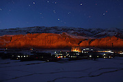 The cliff where once stood the two giant Buddhas of Bamyan is photographed at night from a nearby hill by the homonymous town, in central Afghanistan, an area mostly populated by Hazaras.