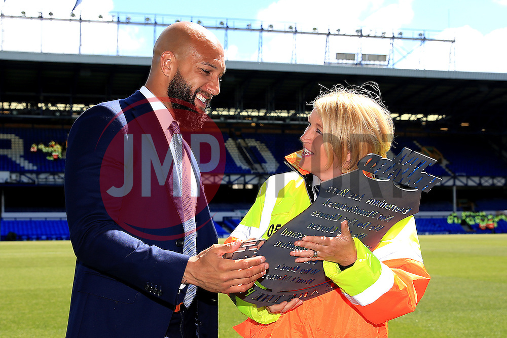 Everton's Tim Howard is presented with a plaque from the Everton stewards - Mandatory byline: Matt McNulty/JMP - 15/05/2016 - FOOTBALL - Goodison Park - Liverpool, England - Everton v Norwich City - Barclays Premier League