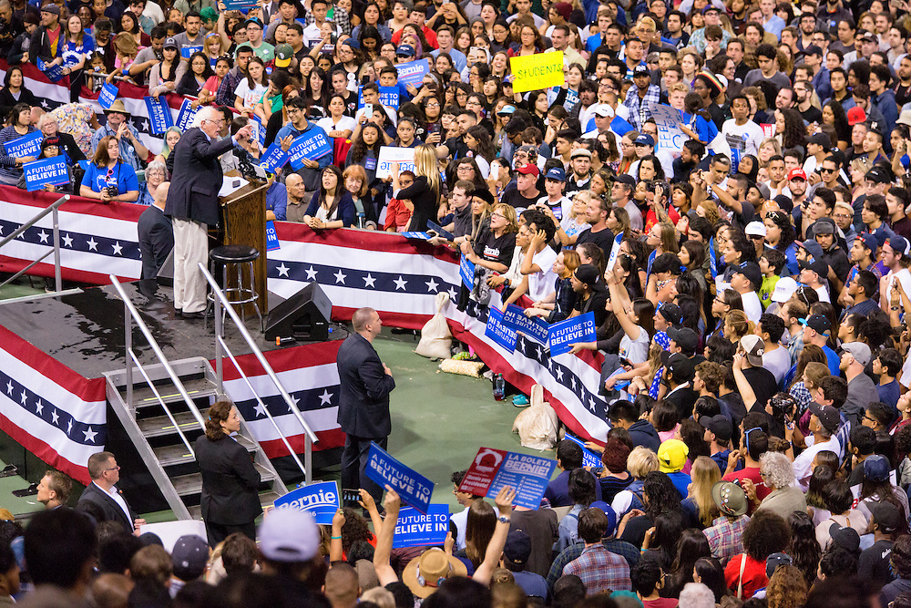 Bernie Sanders addresses a crowd of more than 8,000 people at the StubHub Center at California State University Dominguez Hills. May 17, 2016. Carson, Calif. (Photo by Gabriel Romero ©2016)
