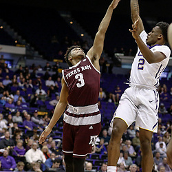 Feb 4, 2017; Baton Rouge, LA, USA; LSU Tigers guard Antonio Blakeney (2) shoots over Texas A&M Aggies guard Admon Gilder (3) during the second half at the Pete Maravich Assembly Center. Texas A&M defeated LSU 85-73. Mandatory Credit: Derick E. Hingle-USA TODAY Sports