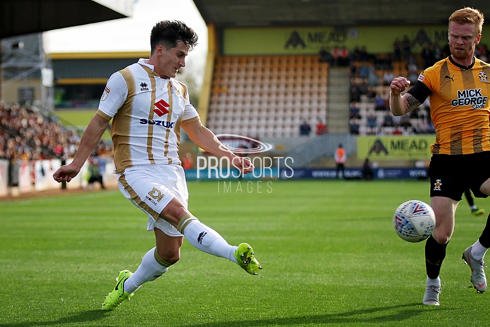 Cambridge United's Brad Halliday(2) gets in a cross during the EFL Sky Bet League 2 match between Cambridge United and Milton Keynes Dons at the Cambs Glass Stadium, Cambridge, England on 13 October 2018.