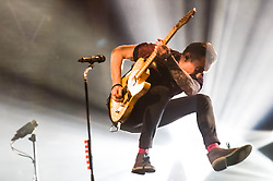 © Licensed to London News Pictures. 24/04/2014. London, UK.   McBusted performing live at The O2 Arena.   In this picture - Danny Jones.  *** LICENSE CONDITIONS USAGE ALLOWED ONLY UNTIL 14 MAY 2014, NO USAGE BEYOND THAT DATE***.  McBusted are an English pop-rock group composed of members of the bands Busted & McFly - James Bourne, Tony Fletcher, Danny Jones, Harry Judd, Dougie Poynter, and Matt Willis.  The only member of the original groups not participating in the new lineup is former Busted singer CharlieSimpson. Photo credit : Richard Isaac/LNP