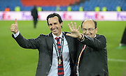 Sevilla Manager Unai Emery celebrates during the Europa League Final match between Liverpool and Sevilla at St Jakob-Park, Basel, Switzerland on 18 May 2016. Photo by Phil Duncan.