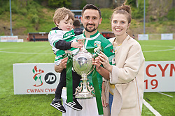 RHOSYMEDRE, WALES - Sunday, May 5, 2019: The New Saints' Ryan Brobbel with his son and wife and the trophy after the FAW JD Welsh Cup Final between Connah's Quay Nomads FC and The New Saints FC at The Rock. The New Saints won 3-0. (Pic by David Rawcliffe/Propaganda)