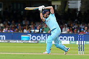 Jonny Bairstow of England hits the ball to the boundary for four runs during the ICC Cricket World Cup 2019 Final match between New Zealand and England at Lord's Cricket Ground, St John's Wood, United Kingdom on 14 July 2019.