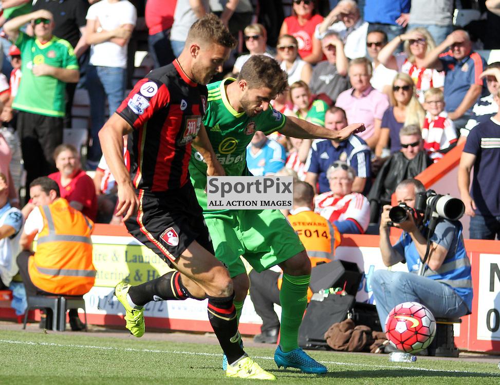 Simon Francis puts pressure on FABIO BORINI During Bournemouth vs Sunderland on Saturday 19th September 2015.