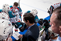 KELOWNA, CANADA - JANUARY 5: Kelowna Rockets' assistant coach Travis Crickard stands on the bench and goes over a play with players against the Seattle Thunderbirds on January 5, 2017 at Prospera Place in Kelowna, British Columbia, Canada.  (Photo by Marissa Baecker/Shoot the Breeze)  *** Local Caption ***