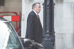 © Licensed to London News Pictures. 24/07/2019. London, UK. Trade Secretary Liam Fox arrives in Parliament for Prime Minister Theresa May's last question time. The Conservative Party has elected Boris Johnson as their new leader and Prime Minister, following Theresa May's announcement that she will step down. Photo credit: Peter Macdiarmid/LNP