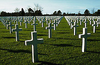 March 1994 --- Rows of graves of American soldiers killed during the Invasion of Normandy, Omaha Beach, France. --- Image by © Owen Franken/Corbis