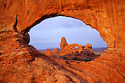 Turret Arch Through North Window at Arches National Park Utah
