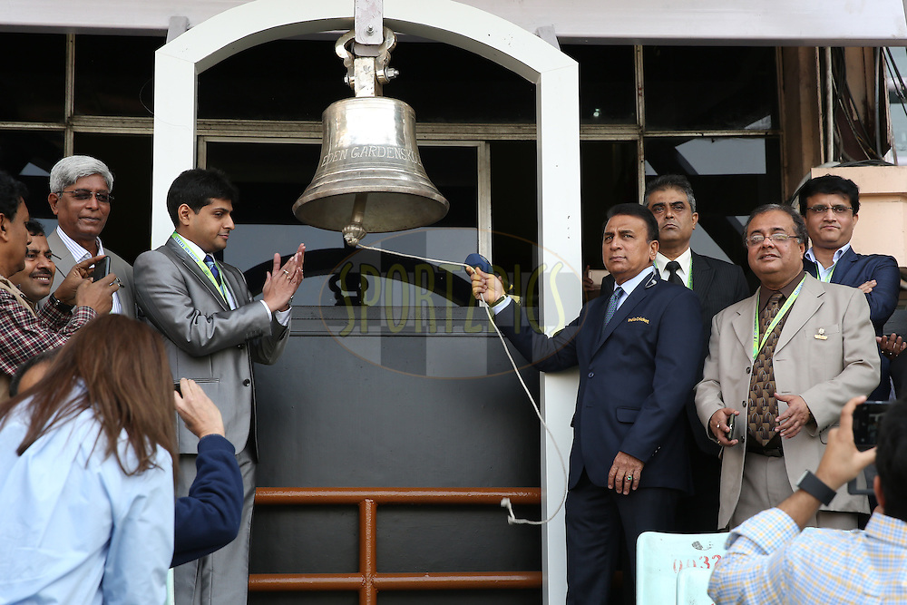 Indian Former Cricketer Sunil Gavaskar ring the bell during the third One Day International (ODI) between India and England  held at Eden Gardens in Kolkata on the 22nd January 2017<br /> <br /> Photo by: Deepak Malik/ BCCI/ SPORTZPICS