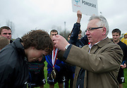Medal's ceremony of Polish Soccer Tournament Unified of Special Olympics in Mietne on April 28, 2013.The idea of Special Olympics is that, with appropriate motivation and guidance, each person with intellectual disabilities can train, enjoy and benefit from participation in individual and team competitions...Poland, Mietne, April 28, 2013..Picture also available in RAW (NEF) or TIFF format on special request...For editorial use only. Any commercial or promotional use requires permission...Mandatory credit: Photo by © Adam Nurkiewicz / Mediasport