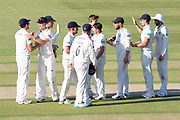 Gloucestershire celebrate bowling Leicestershire out for 252 during the Specsavers County Champ Div 2 match between Gloucestershire County Cricket Club and Leicestershire County Cricket Club at the Cheltenham College Ground, Cheltenham, United Kingdom on 15 July 2019.