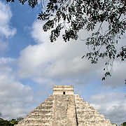 Temple of Kukulkan (El Castillo) at Chichen Itza Archeological Zone, ruins of a major Maya civilization city in the heart of Mexico's Yucatan Peninsula.