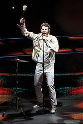 © Licensed to London News Pictures . 18/05/2017 . Manchester , UK . HOWARD DONALD . Take That perform live at the opening night of their Wonderland tour at the Manchester Arena . Photo credit : Joel Goodman/LNP