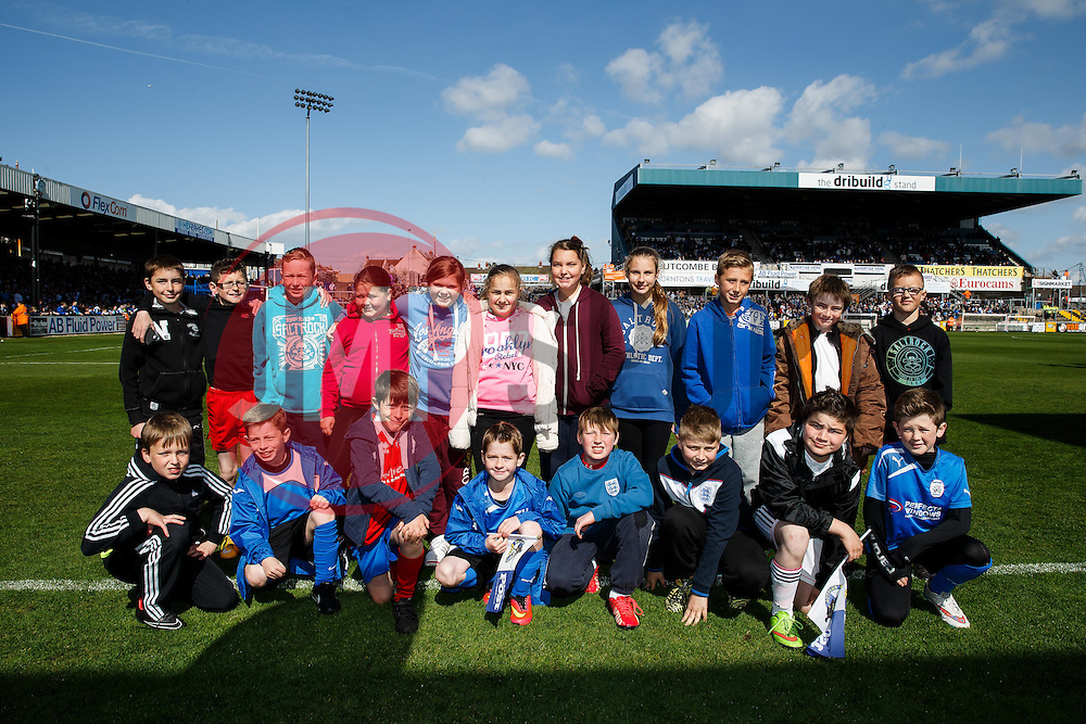 The Saturday Team Club flag bearers pose for a group photo - Photo mandatory by-line: Rogan Thomson/JMP - 07966 386802 - 11/04/2015 - SPORT - FOOTBALL - Bristol, England - Memorial Stadium - Bristol Rovers v Southport - Vanarama Conference Premier.