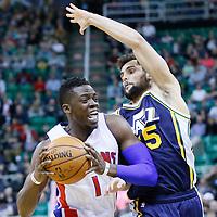 25 January 2016: Detroit Pistons guard Reggie Jackson (1) drives past Utah Jazz guard Raul Neto (25) during the Detroit Pistons 95-92 victory over the Utah Jazz, at the Vivint Smart Home Arena, Salt Lake City, Utah, USA.