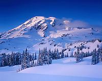 Mount Rainier in winter from Paradise Meadows, Mount Rainier National Park Washington USA