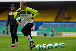 Coach Nihad Pejkovic and Vid Belec during practice session of Slovenia National football team One day before EURO 2012 Quaifications game between National teams of Slovenia and Northern Ireland, on March 28, 2011, in Windsor Park Stadium, Belfast, Northern Ireland, United Kingdom. (Photo by Vid Ponikvar / Sportida)