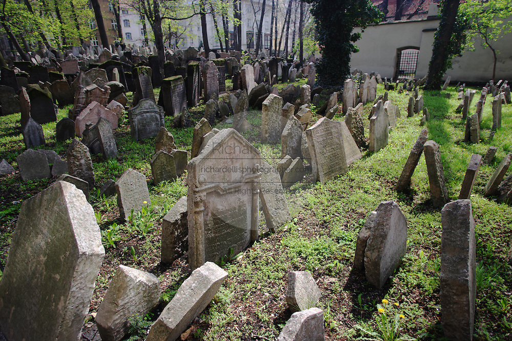 Old Jewish cemetery in Josefov, the former Jewish ghetto in Prague, Czech Republic. The cemetery was used from 1439 to 1787 and it is the oldest existing Jewish cemetery in Europe.