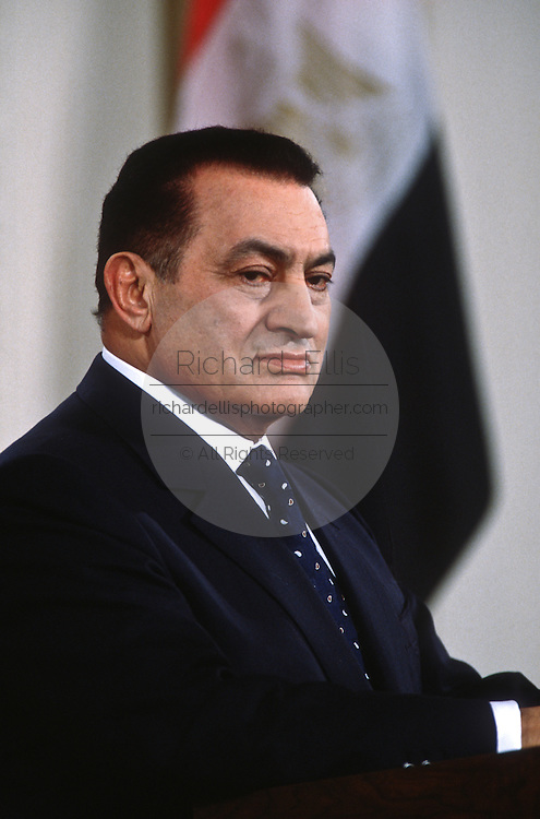 Egyptian President Hosni Mubarak during a joint news conference with President Bill Clinton March 10, 1997 in the White House East Room.