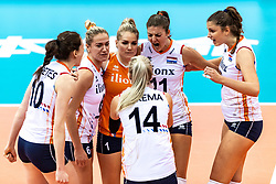16-10-2018 JPN: World Championship Volleyball Women day 17, Nagoya<br /> Netherlands - China 1-3 / Lonneke Sloetjes #10 of Netherlands, Maret Balkestein-Grothues #6 of Netherlands, Kirsten Knip #1 of Netherlands, Anne Buijs #11 of Netherlands, Juliet Lohuis #7 of Netherlands