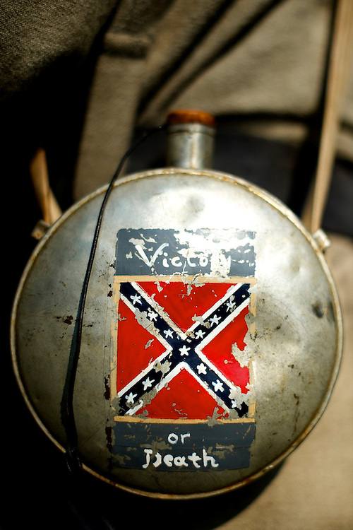 A rebel infantryman's canteen reads 'Victory or Death' at a living history event in Ridley Creek State Park in Newtown Square, Pennsylvania on September 22, 2012.