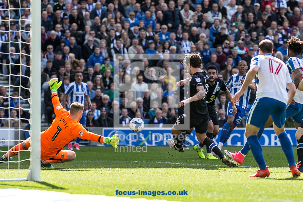 Goalkeeper Jason Steele of Blackburn Rovers saves during the Sky Bet Championship match at the American Express Community Stadium, Brighton and Hove<br /> Picture by Liam McAvoy/Focus Images Ltd 07413 543156<br /> 01/04/2017