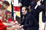 Pianigiani Simone time out Armani Milano, GERMANI BASKET BRESCIA vs EA7 EMPORIO ARMANI OLIMPIA MILANO, 27^ giornata Campionato Lega Basket Serie A, PalaGeorge Montichiari (BS) 22 aprile 2018 - FOTO Bertani/Ciamillo