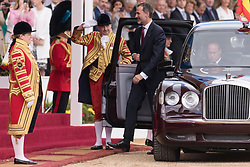 © Licensed to London News Pictures. 12/07/2017. London, UK. HIS MAJESTY KING FELIPE VI OF SPAIN attends the Ceremonial Welcome at Horse Guards Parade for His Majesty King Felipe VI of Spain and Her Majesty Queen Letizia during a three day State visit. Photo credit: Ray Tang/LNP