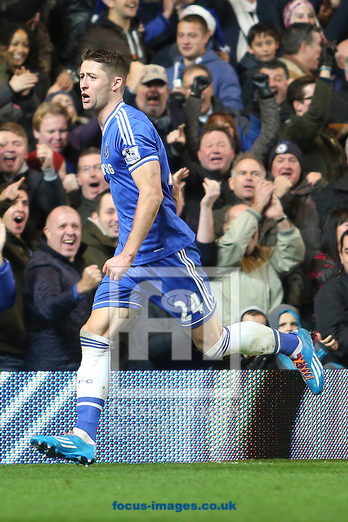 Picture by Richard Calver/Focus Images Ltd +447792 981244<br /> 01/12/2013<br /> Gary Cahill of Chelsea celebrates after scoring the equalising goal against Southampton during the Barclays Premier League match at Stamford Bridge, London.