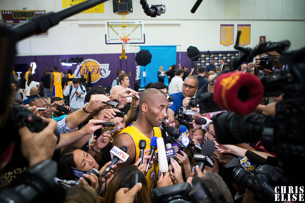 29 September 2014: Kobe Bryant is seen during the Los Angeles Lakers Media Day, at Toyota Sports Center, El Segundo, California, USA.