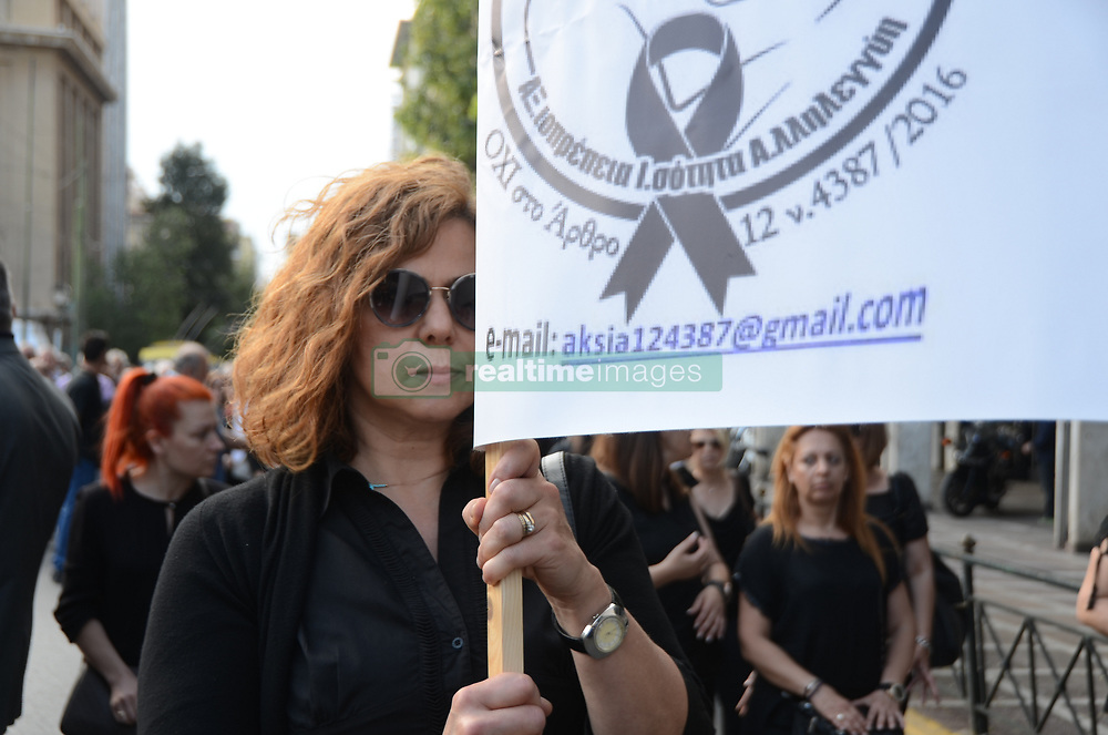 ATHENS, GREECE - MAY 30, 2017 - Demonstration in Athens of women that are not able to get their husbands pension after he died due to a new law by the Greek goverment. (Photo by George Panagakis/Pacific Press) *** Please Use Credit from Credit Field ***