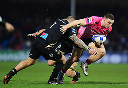 Sam Simmonds of Exeter Chiefs breaks through contact - Mandatory by-line: Alex Davidson/JMP - 13/01/2018 - RUGBY - Sandy Park Stadium - Exeter, England - Exeter Chiefs v Montpellier - European Rugby Champions Cup