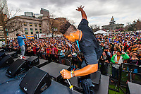 Zion I performing, 420 Cannabis Culture Music Festival, Civic Center Park, Downtown Denver, Colorado USA.