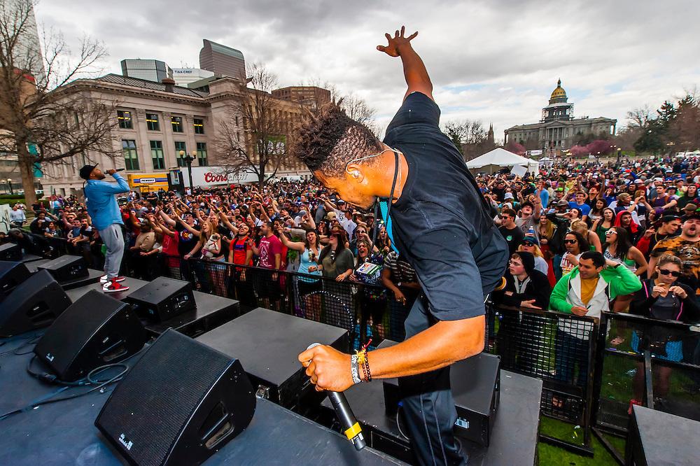 Zion I performing, 420 Cannabis Culture Music Festival, Civic Center Park, Downtown Denver, Colorado USA.