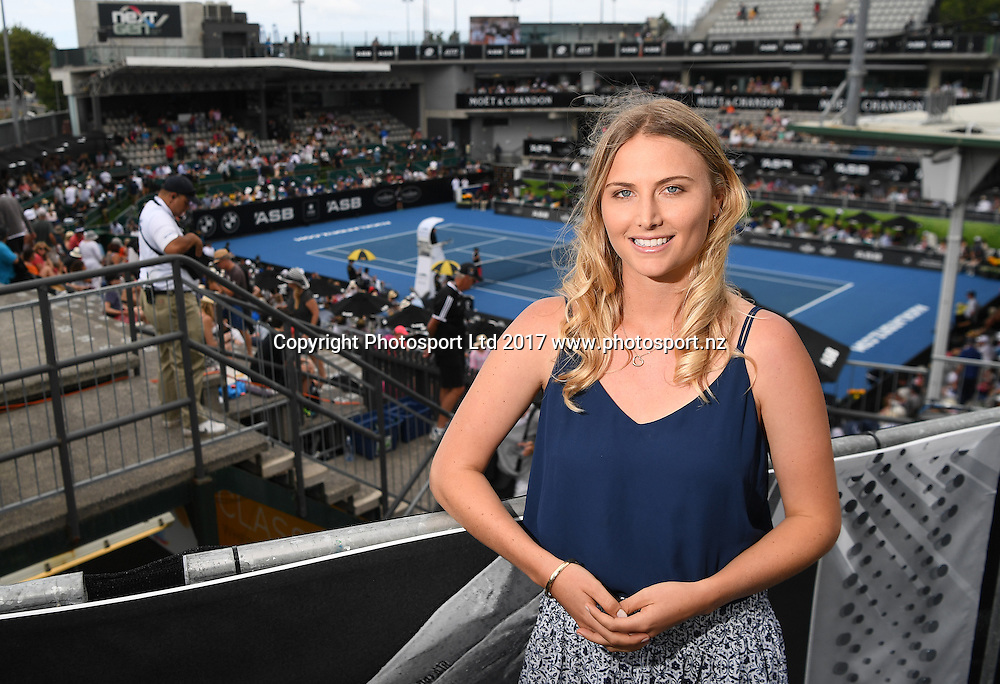 SKY TV presenter and former professional tennis player Sacha Jones at the ASB Classic. ATP Mens Tennis Tournament. ASB Tennis Centre, Auckland, New Zealand. Monday 9 January 2017. © Copyright photo: Andrew Cornaga / www.photosport.nz