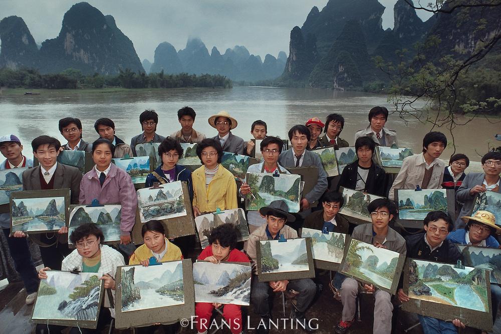 Art students, Li River, Guilin, China