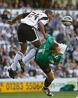Photo: Steve Bond/Richard Lane Photography. Derby County v Sheffield United. Coca-Cola Championship. 13/09/2008. Miles Addison (L) goes in hard on keeper Paddy Kenny