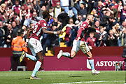 Aston Villa midfielder Conor Hourihane (14) scores a goal and celebrates  1-1 during the EFL Sky Bet Championship first leg Play Off match between Aston Villa and West Bromwich Albion at Villa Park, Birmingham, England on 11 May 2019.