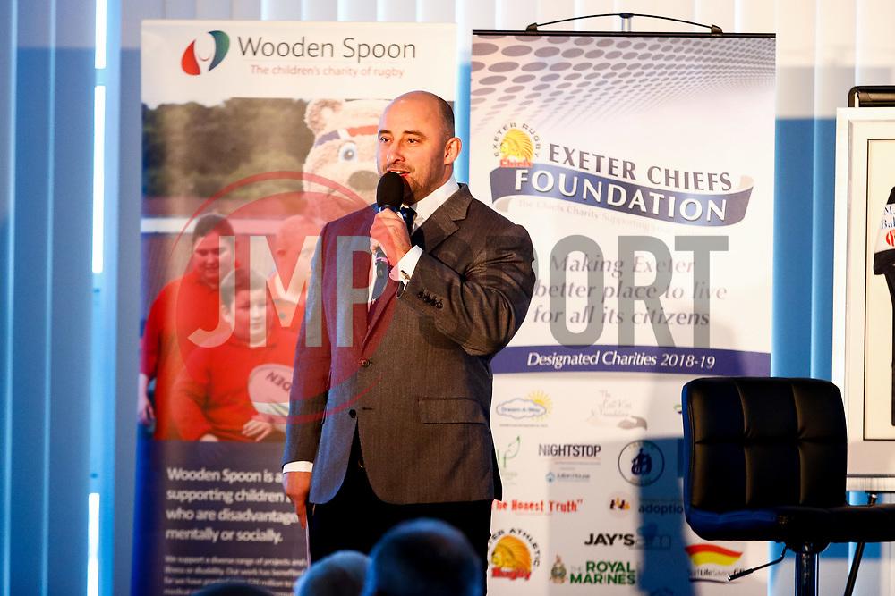 David Flatman talks during the annual Exeter Chiefs Foundation Christmas Dinner at Sandy Park - Ryan Hiscott/JMP - 07/12/2018 - RUGBY - Sandy Park - Exeter, England - Exeter Chiefs Foundation Christmas Dinner with David Flatman