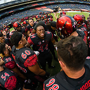 12 October 2018: San Diego State Aztecs linebacker Kyahva Tezino (44) pumps the team up prior to taking on the Air Force Falcons. The Aztecs lead 14-9 at the half against the Falcons at SDCCU Stadium Friday night.