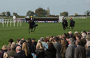 FIRST WOMENT'S SIDE-SADDLE RACE FLAT RACE ON A BRITISH RACECOURSE. LIZZIE HARRIS IN LEAD, , Side-Saddle Dash, Southern Spinal Injuries ON LOUGH INCH Trust charity Day. Wincanotn. 25 October 2015.
