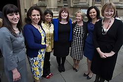 © licensed to London News Pictures. London, UK 08/05/2013. Labour's newest MP Emma Lewell-Buck (centre) being welcomed by other women Labour MPs outside the House of Commons following her by-election victory last week. Photo credit: Tolga Akmen/LNP