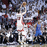 21 June 2012: Miami Heat shooting guard Mike Miller (13) takes a three points jumpshot during the Miami Heat 121-106 victory over the Oklahoma City Thunder, in Game 5 of the 2012 NBA Finals, at the AmericanAirlinesArena, Miami, Florida, USA. The Miami Heat wins the series 4-1.