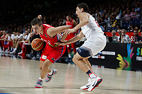 United States´s Thompson (R) and Serbia´s Bircevic during FIBA Basketball World Cup Spain 2014 final match between United States and Serbia at `Palacio de los deportes´ stadium in Madrid, Spain. September 14, 2014. (ALTERPHOTOSVictor Blanco)