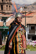 "The Wirapiricuq, the priest that takes the guts. Inti Raymi ""Festival of the Sun"", Plaza de Armas, Cusco, Peru."