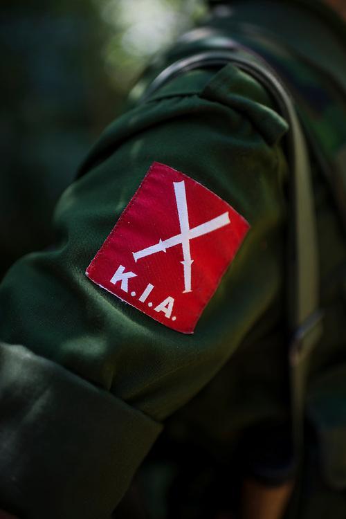 Mai Ja Yang 20160911<br /> Kachin Independence Army, K.I.A, logo on a soldier near Mai Ja Yang in Kachin State, Myanmar.<br /> Photo: Vilhelm Stokstad / Kontinent