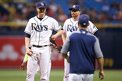September 16, 2017 - St. Petersburg, Florida, U.S. - WILL VRAGOVIC       Times.Tampa Bay Rays starting pitcher Alex Cobb (53) upset about being pulled from the game in the sixth inning of the game between the Boston Red Sox and the Tampa Bay Rays at Tropicana Field in St. Petersburg, Fla. on Saturday, Sept. 16, 2017. (Credit Image: © Will Vragovic/Tampa Bay Times via ZUMA Wire)